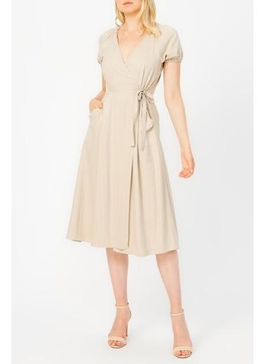 Random Kadın Anvelop Kapama Gipe Detaylı Cepli Elbise Bej